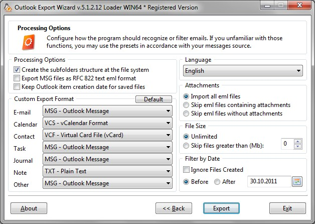 Outlook Export Wizard
