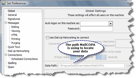 Select MailCOPA data path and copy it for future use